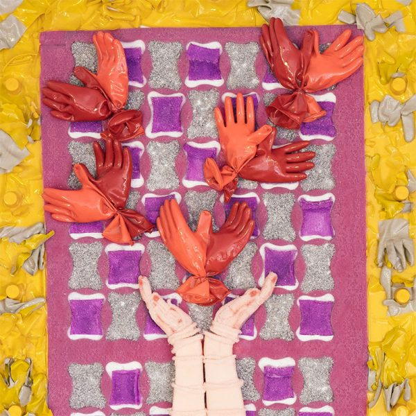 Arte con material reciclado loto