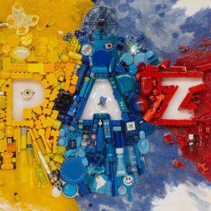 Arte con material reciclado paz