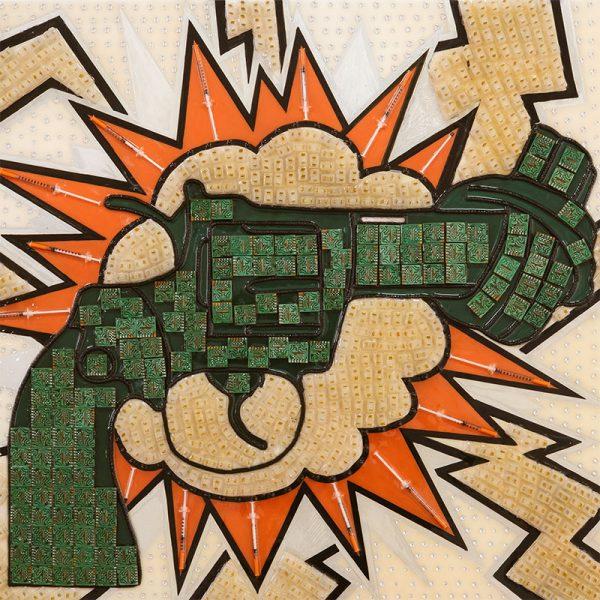 Arte con material reciclado pistola anudada